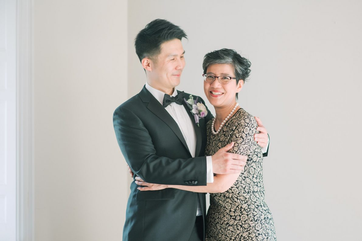 Groom and mom at Estates of Sunnybrook McLean House Toronto Wedding Photos