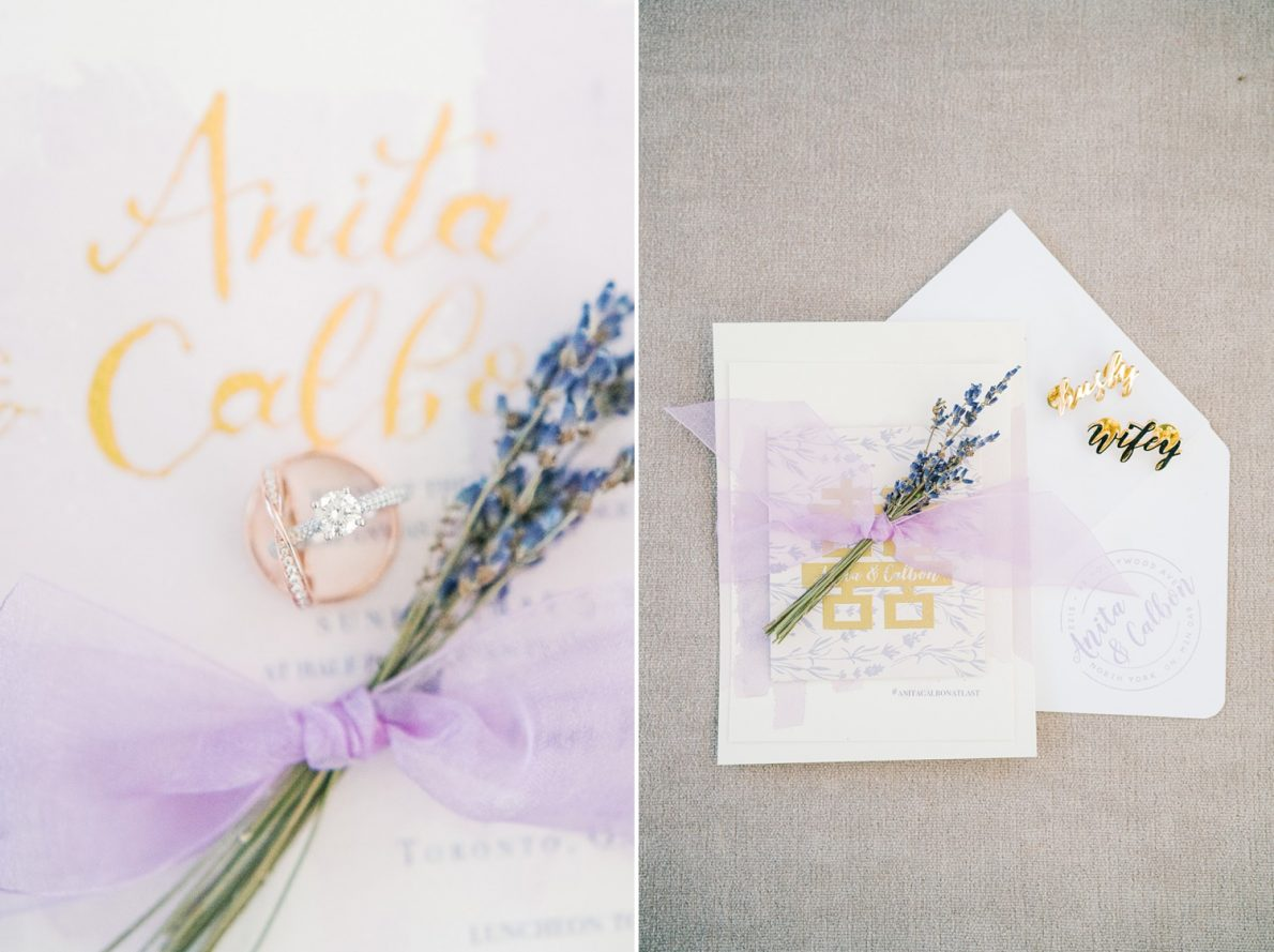 Custom handmade lavender Wedding Invitations Estates of Sunnybrook McLean House Toronto Wedding Photos