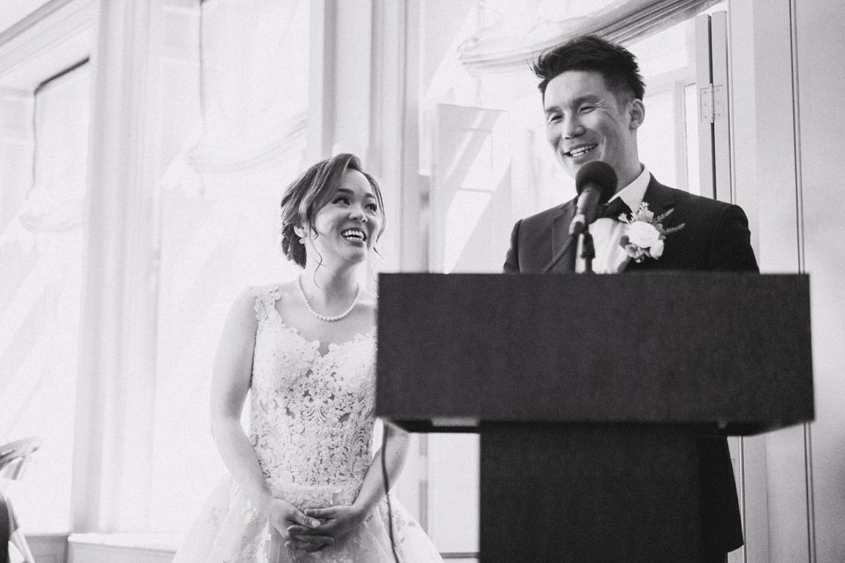 Bride and Groom thank you speech at Lunch reception in Estates of Sunnybrook McLean House Toronto Wedding Photos