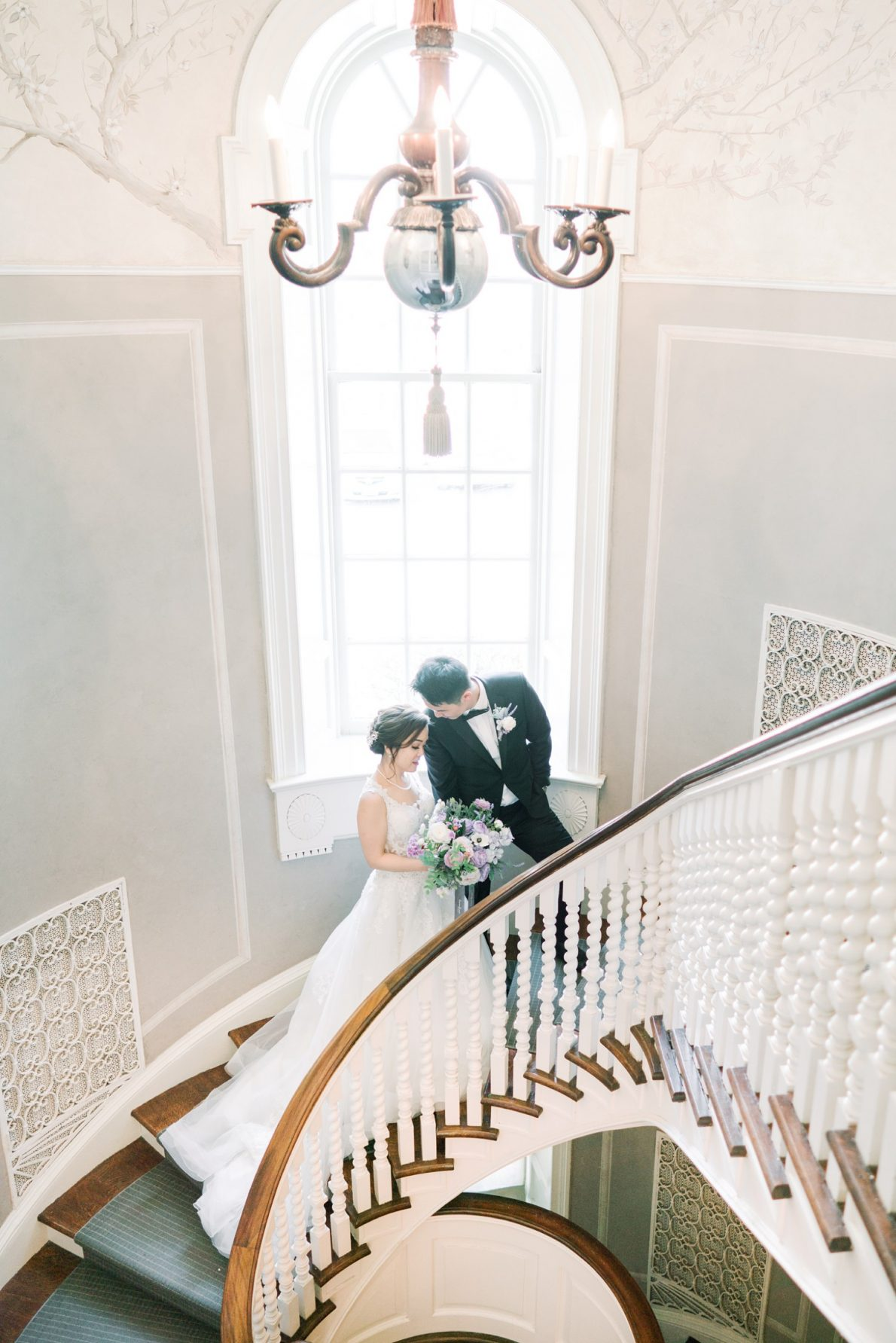 Bride and Groom portraits at stairs in Estates of Sunnybrook McLean House Toronto Wedding Photos
