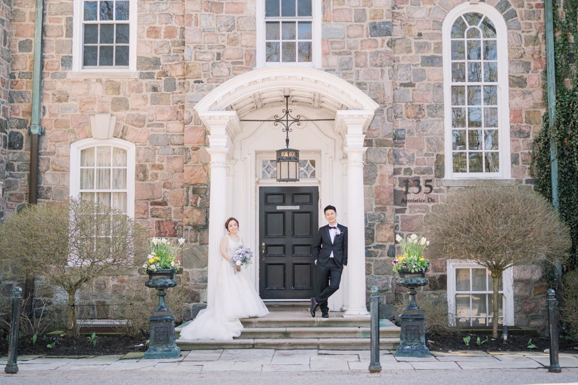 Bride and groom outdoor portraits in Estates of Sunnybrook McLean House Toronto Wedding Photos