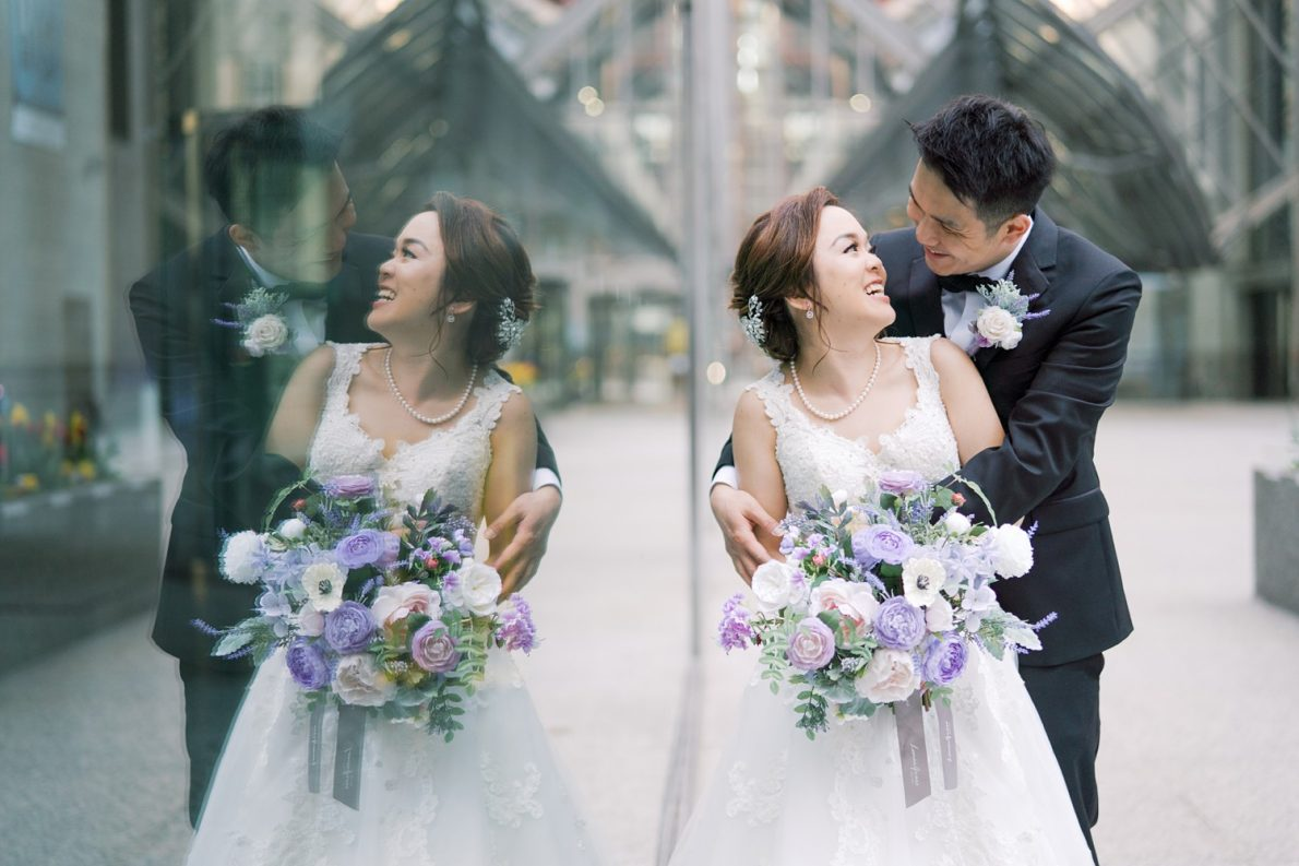Bride and groom outdoor portraits in Downtown Toronto Financial District Toronto Wedding Photos