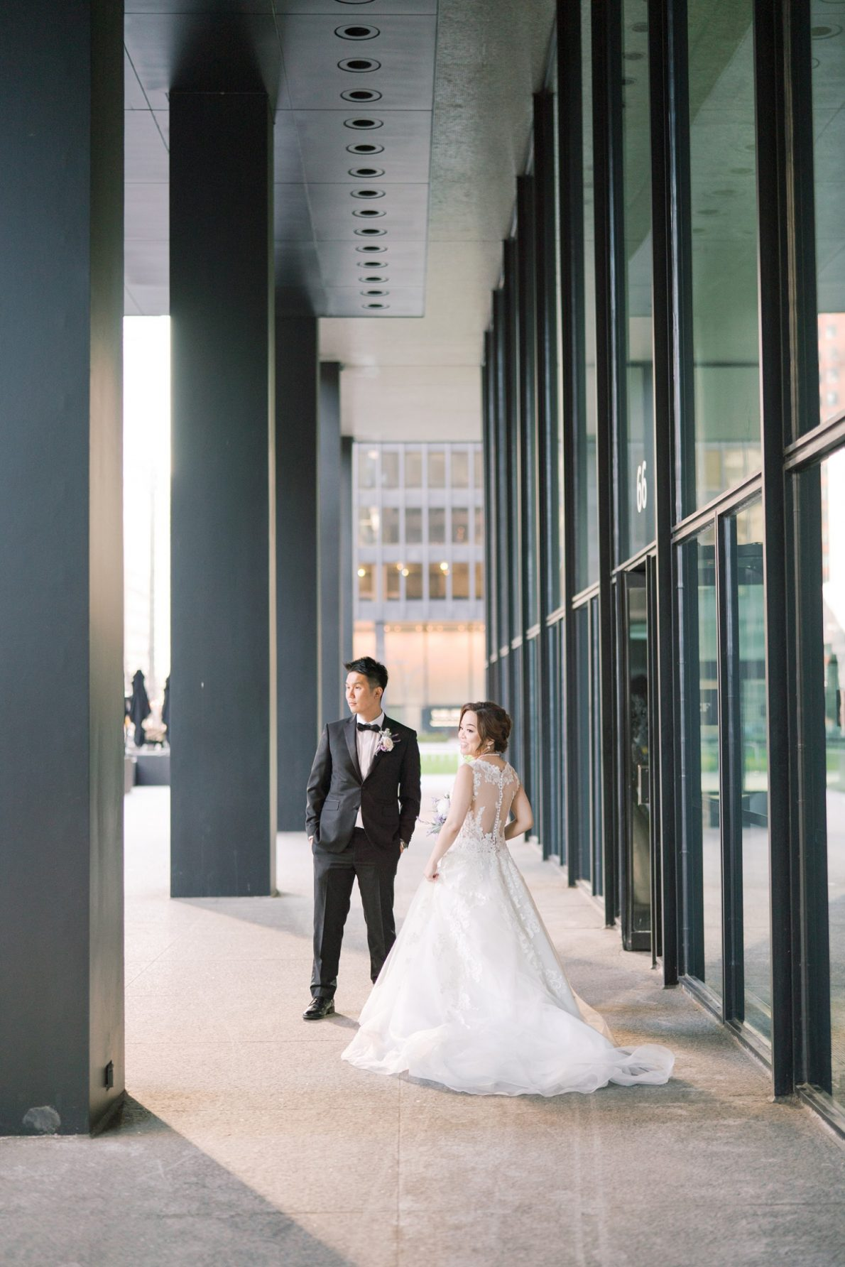 Sunset Bride and groom outdoor portraits in Downtown Toronto Financial District Toronto Wedding Photos