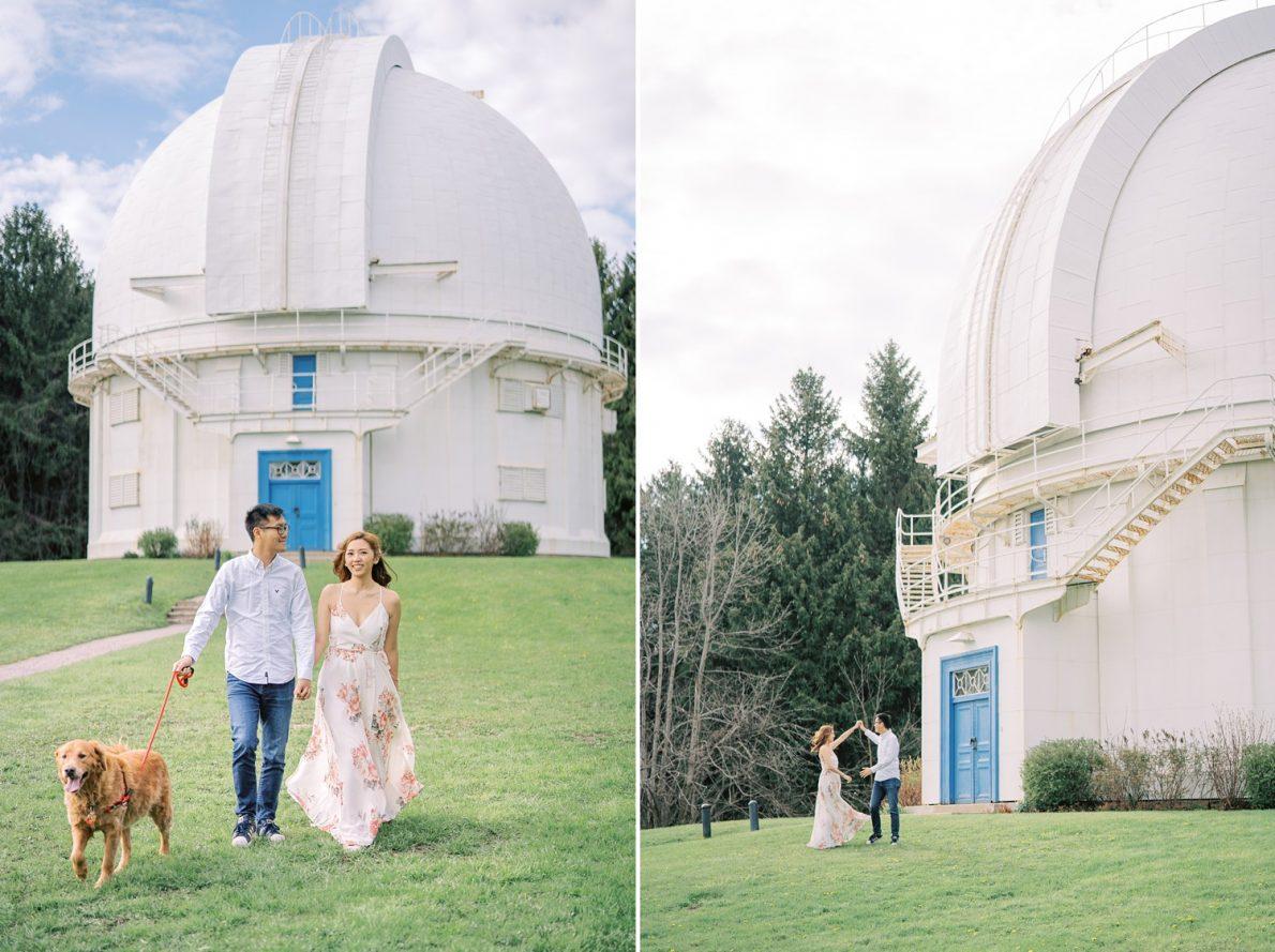 David Dunlap Observatory with golden retriever Toronto Engagement Photos
