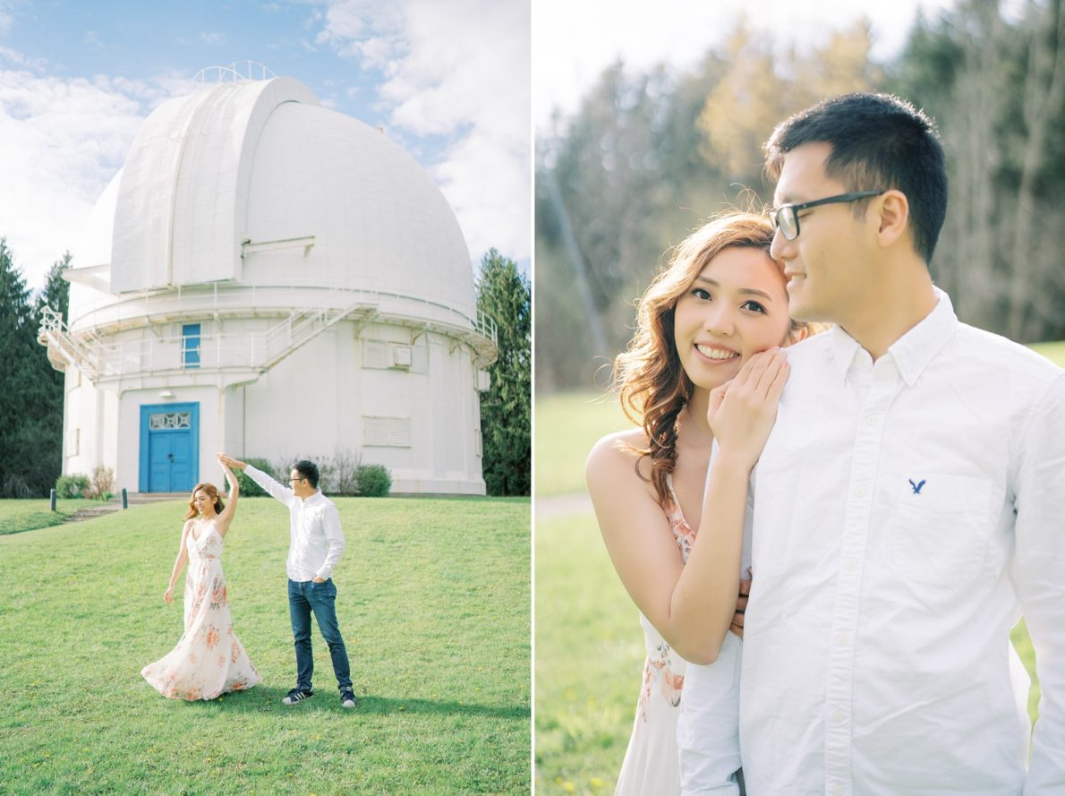 Bright and airy sunset photography at David Dunlap Observatory Toronto Engagement Photos