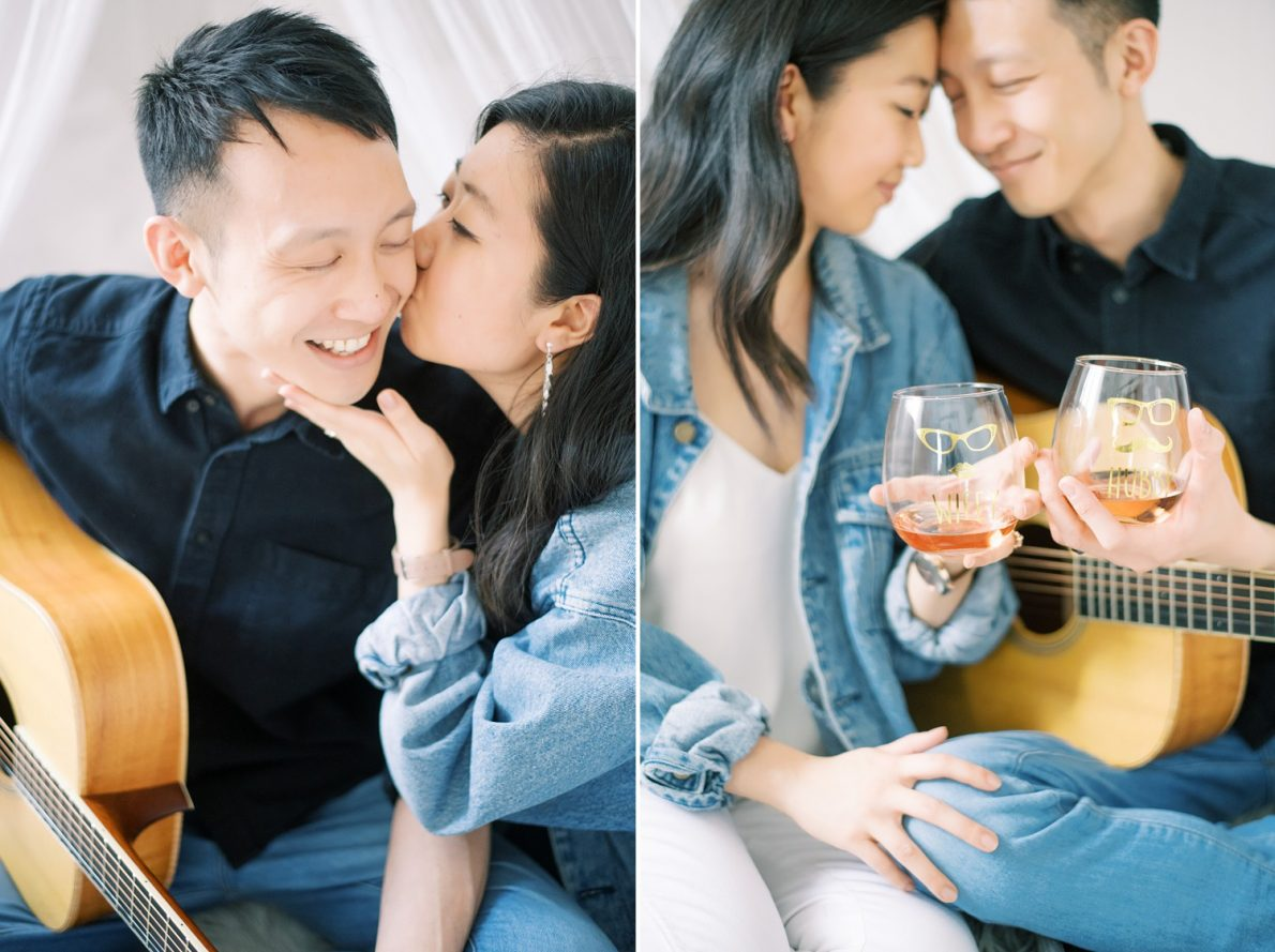 Guitar and wine at Mint Room Studio Nest Room Toronto Engagement Photos