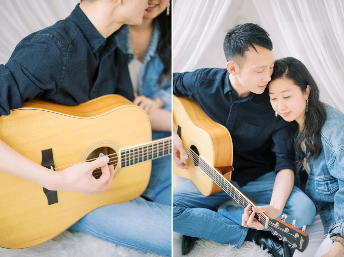 Guitar playing at Mint Room Studio Nest Room Toronto Engagement Photos