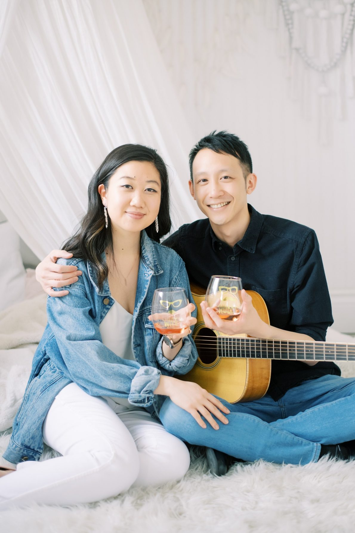 Guitar and Props at Mint Room Studio Nest Room Toronto Engagement Photos