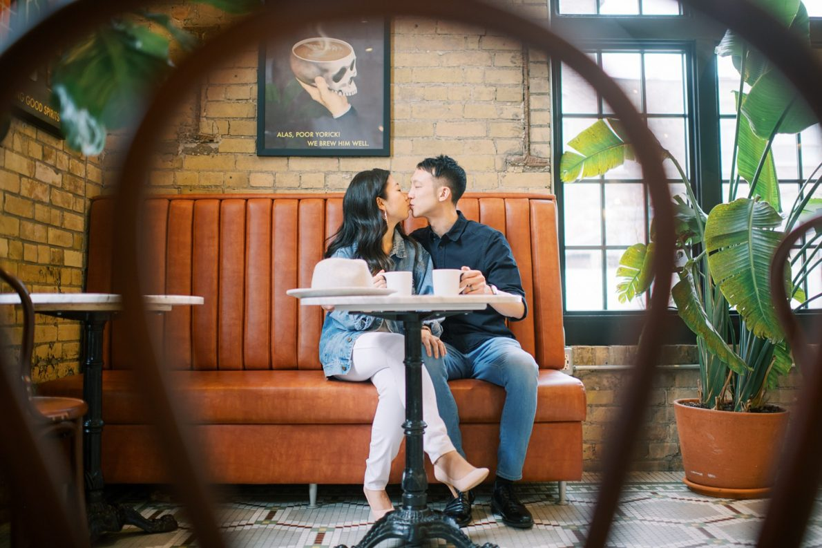 Romantic Balzacs Coffee Toronto Engagement Photos