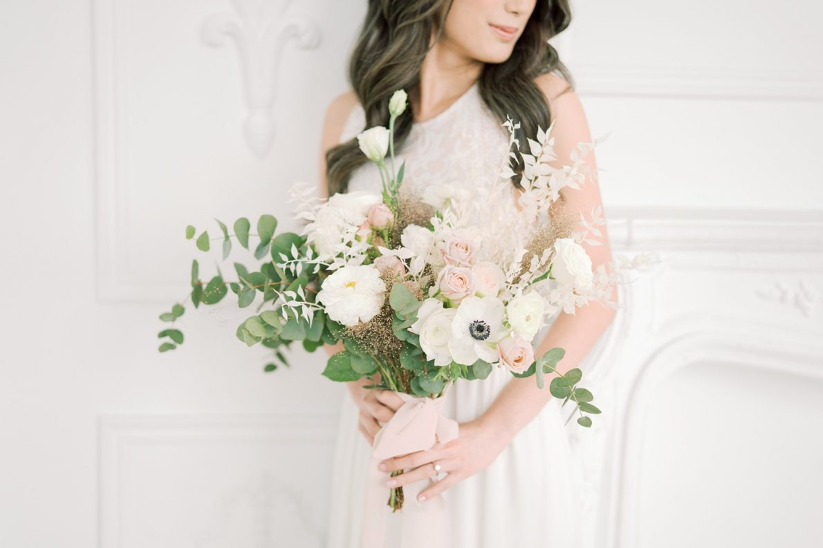 Bride bouquet in Dreamy Toronto Engagement Photos Mint Room Studio Conservatory