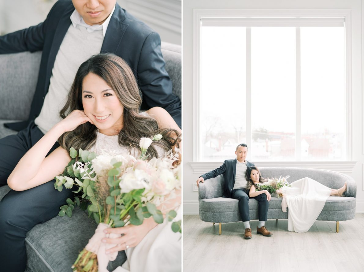 Stylish and Dreamy Toronto Engagement Photos Mint Room Studio Conservatory