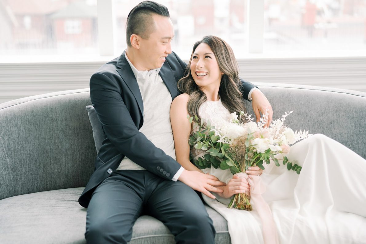 White and Dreamy Toronto Engagement Photos Mint Room Studio Conservatory