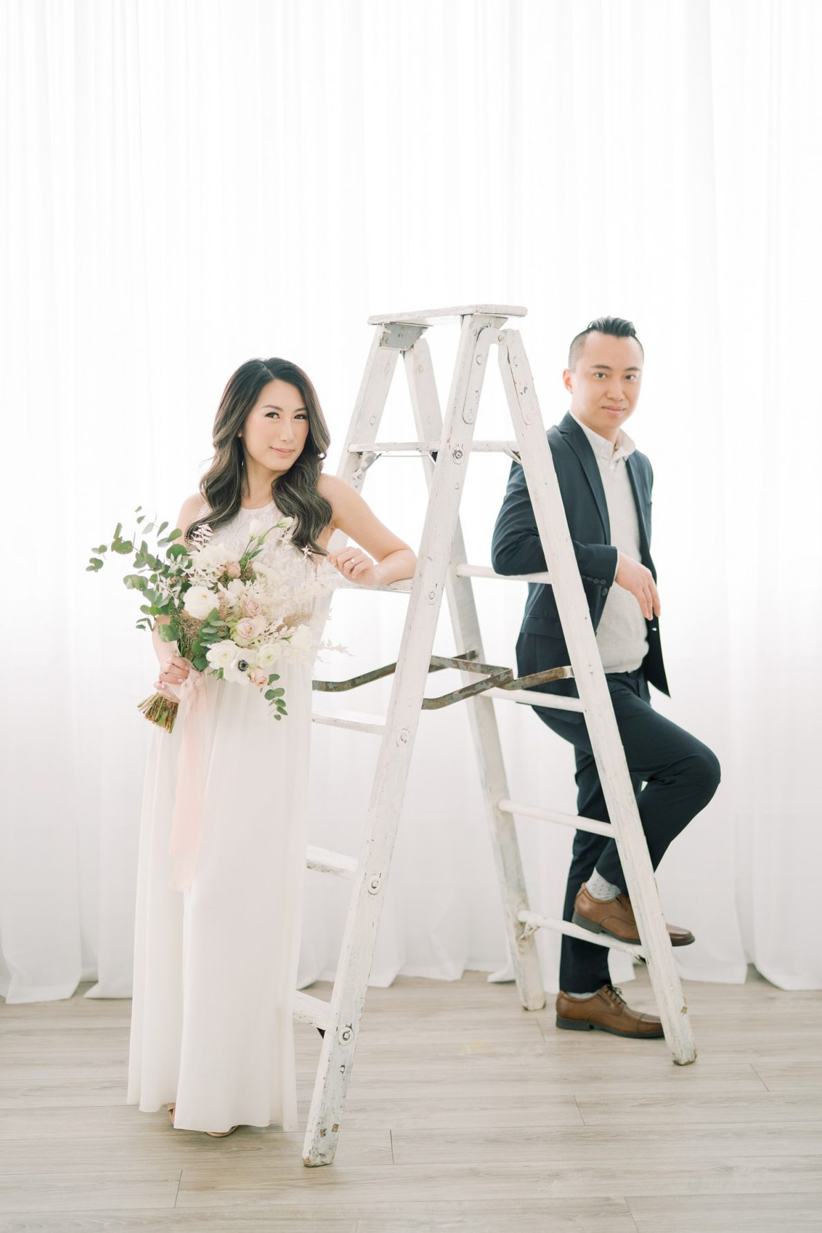 Stunning couple in Dreamy Toronto Engagement Photos Mint Room Studio Conservatory