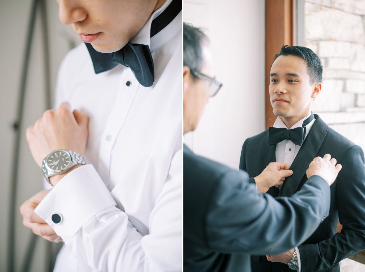 Groom getting ready at Edwards Garden and Toronto Botanical Garden Wedding Photos