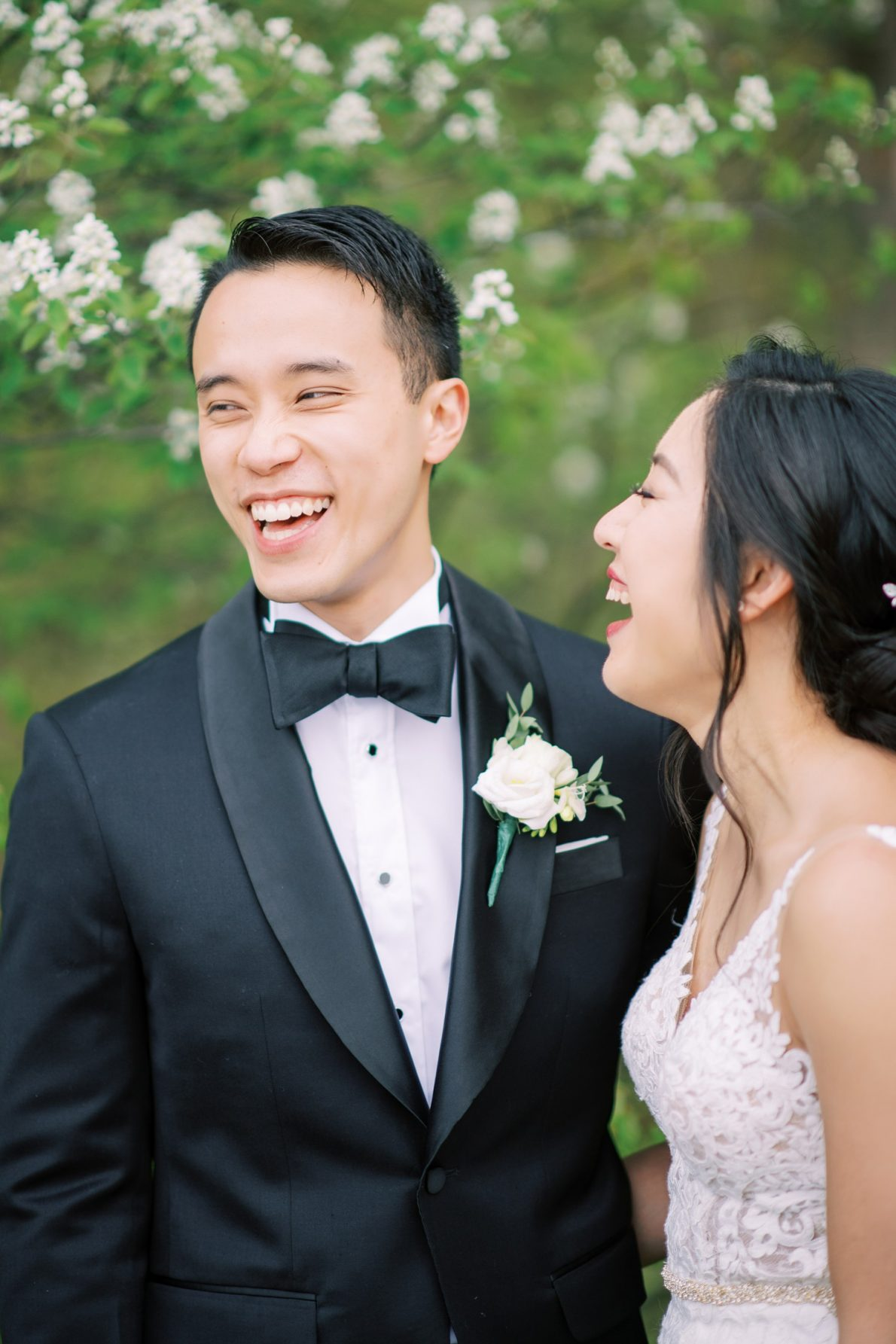 Happy couple at Edwards Garden and Toronto Botanical Garden Wedding Photos
