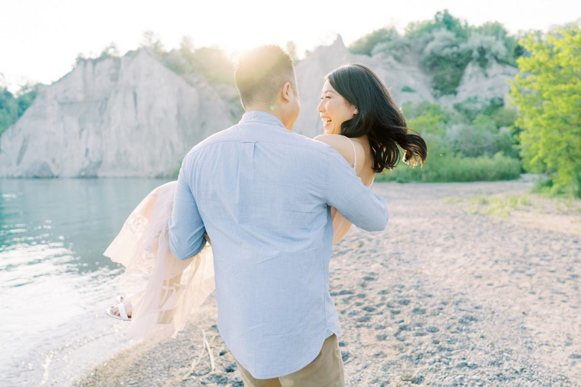 Private Beach Toronto Scarborough Bluffs Beach Engagement Photos