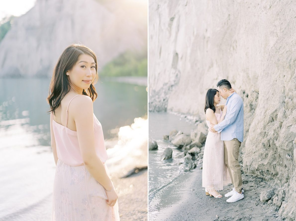 Sunset Toronto Scarborough Bluffs Beach Engagement Photos