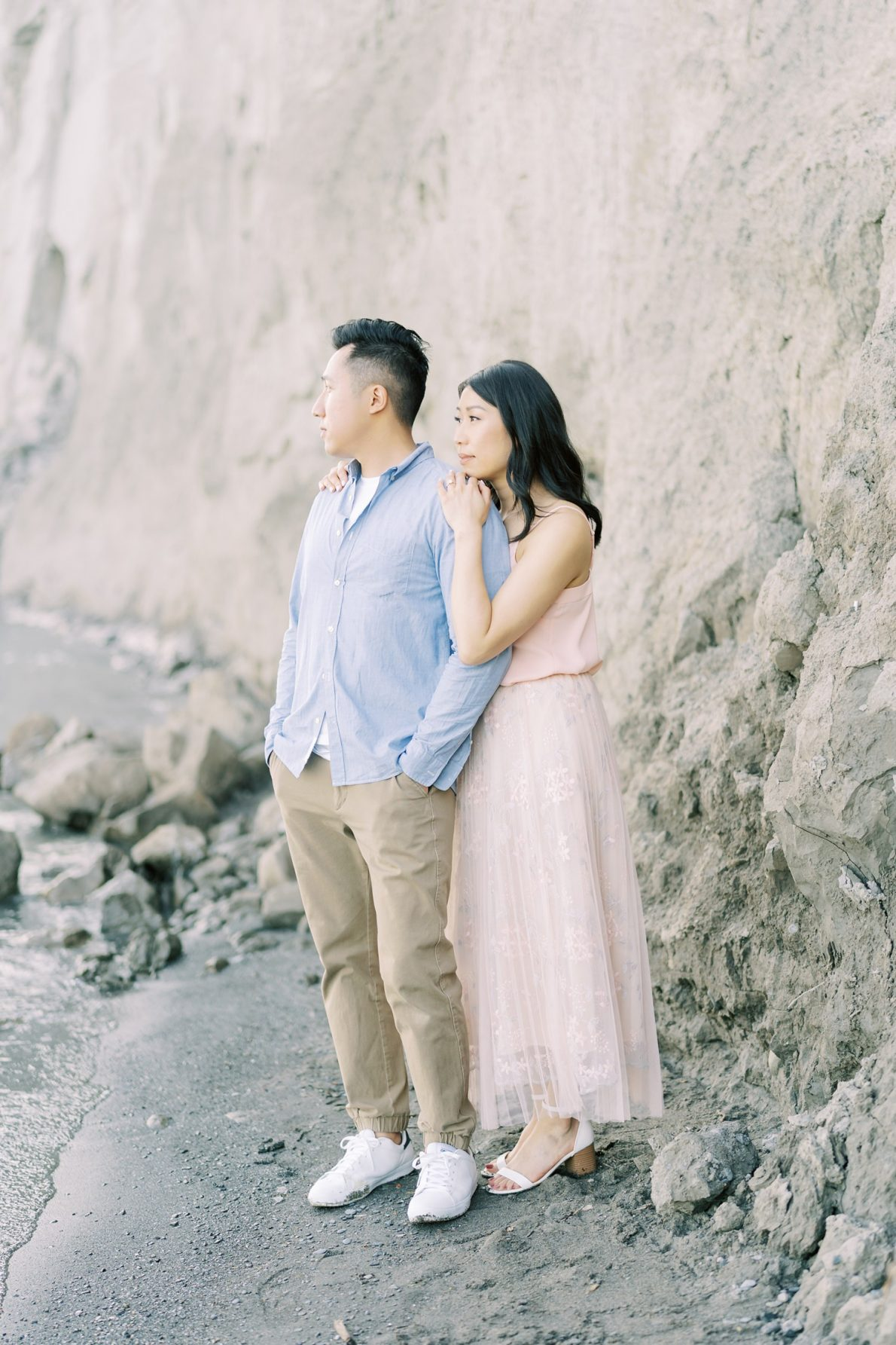 Pink and Blue Toronto Scarborough Bluffs Beach Engagement Photos