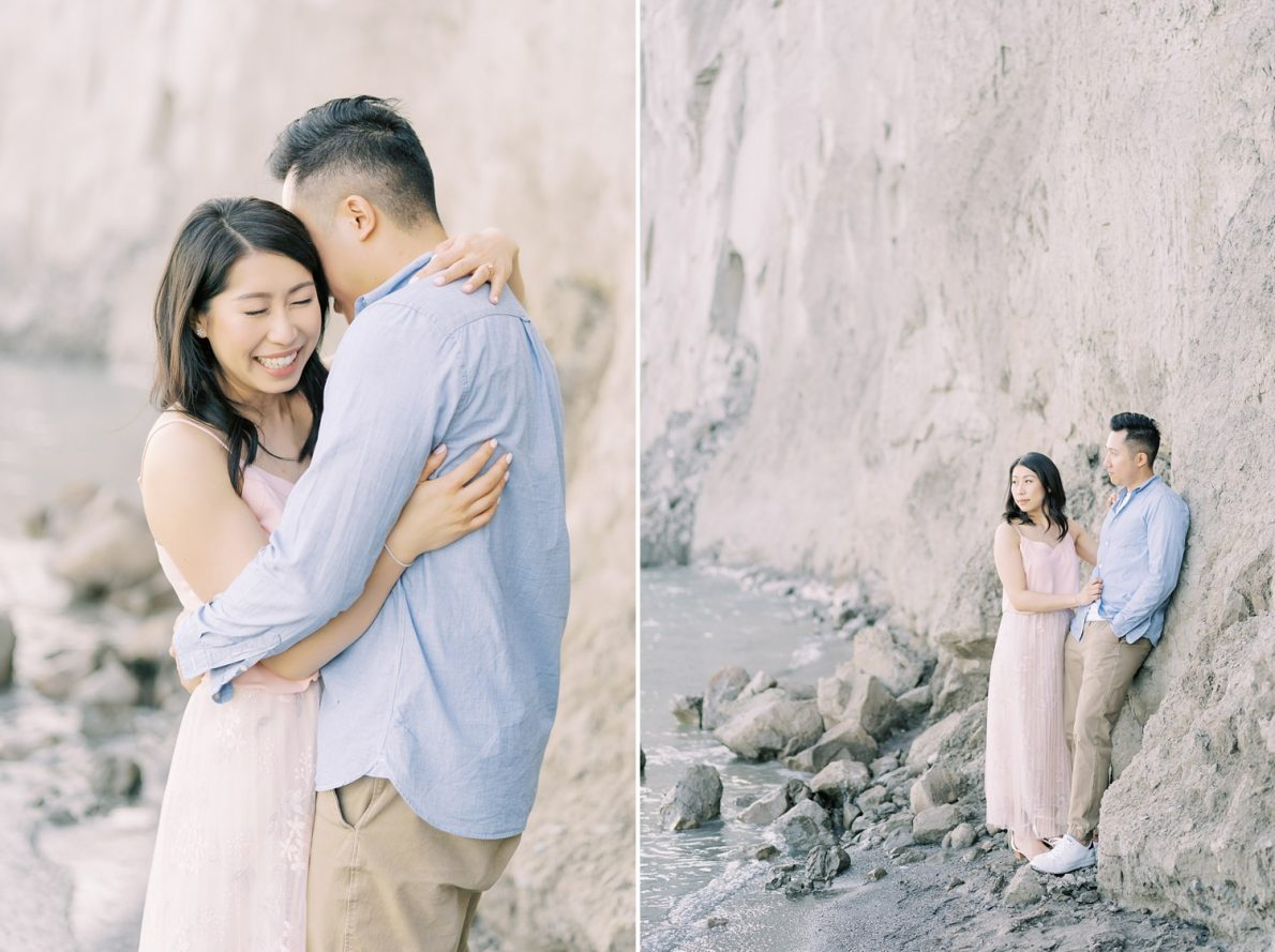 Cliffs at Toronto Scarborough Bluffs Beach Engagement Photos