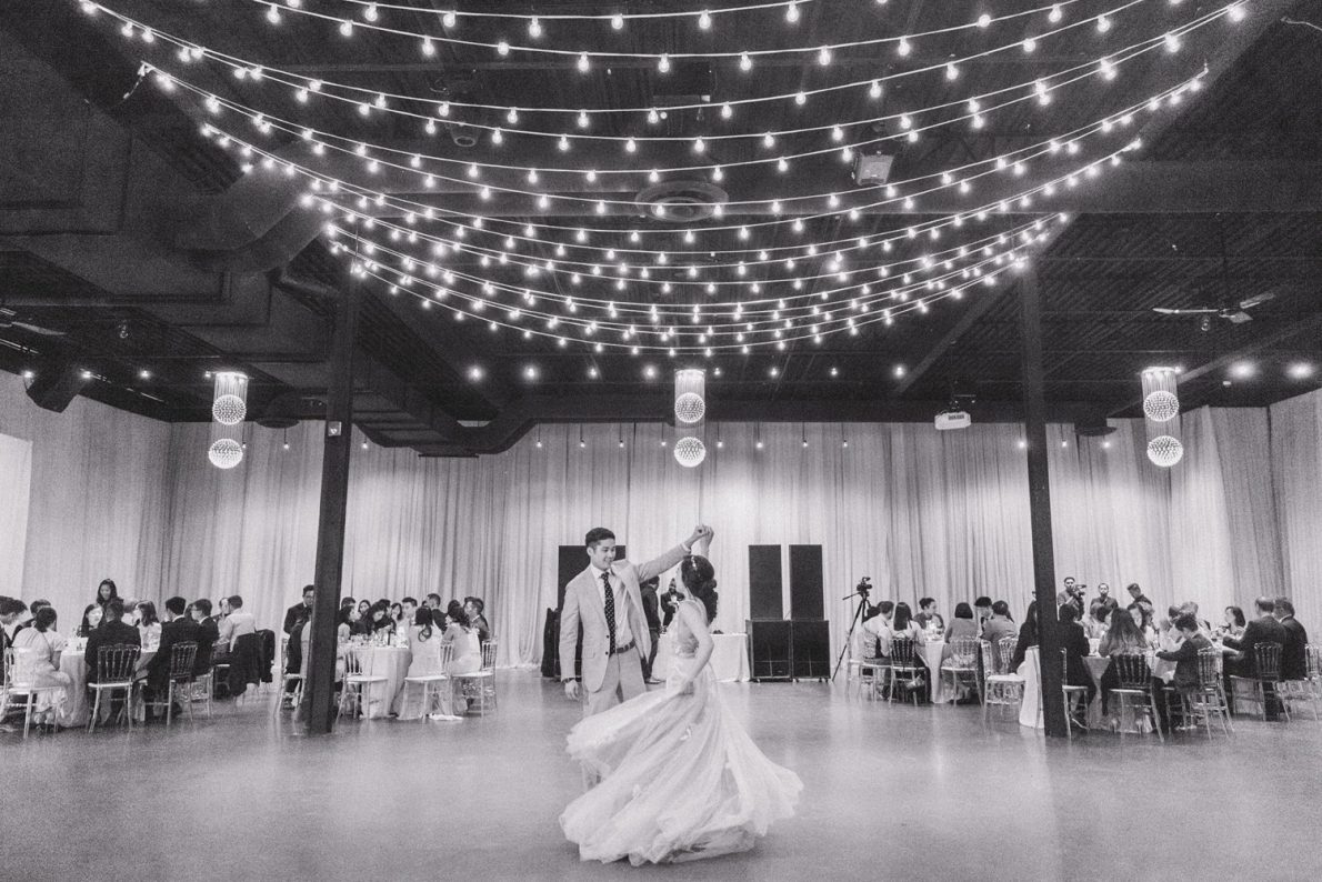 Yorkmills Gallery Romantic String lights First Dance Performance Toronto Wedding Photos