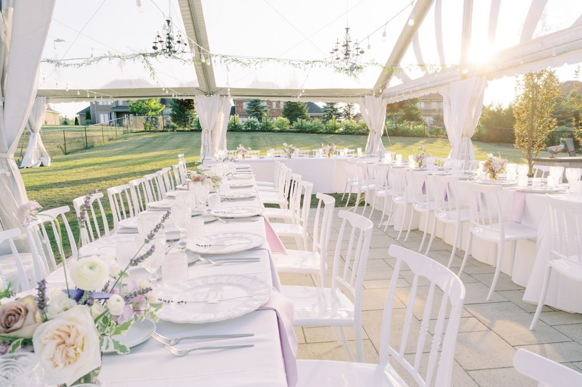 Backyard tented wedding design photos