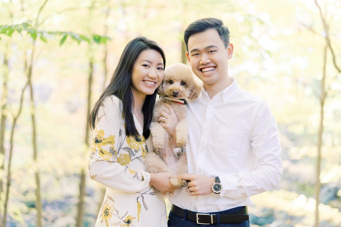 Earl Bales Park Toronto Fall Engagement Photos with Toy Poodle