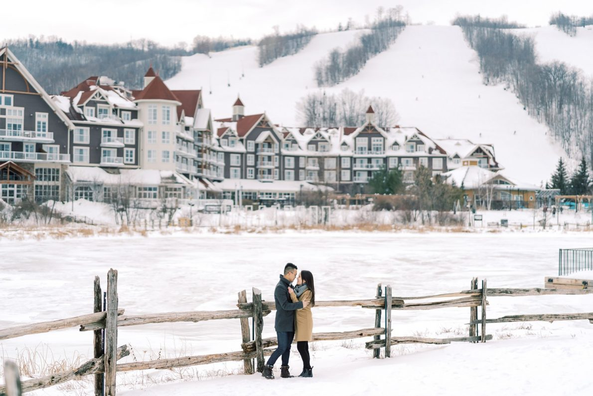 Winter Snowy Blue Mountain Snowboarding Engagement Photos