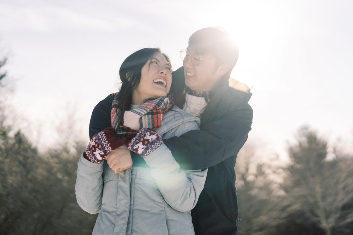 Kortright Forest Winter Engagement Photos San Francisco Bride and Groom